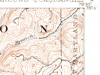 Reduced fragment of topographic map en--usgs--063k--060782--(1908)--N039-15_W079-45--N039-00_W079-30; towns and cities Hambleton, Hendricks, Parsons