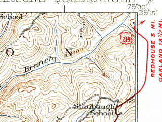 Reduced fragment of topographic map en--usgs--063k--060782--(1926)--N039-15_W079-45--N039-00_W079-30; towns and cities Hambleton, Hendricks, Parsons