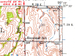 Reduced fragment of topographic map en--usgs--063k--060784--(1945)--N037-30_W095-30--N037-15_W095-15 in area of Big Hill Lake, Lake Mckinley; towns and cities Parsons, Thayer, Galesburg
