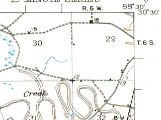 Reduced fragment of topographic map en--usgs--063k--060789--(1943)--N030-30_W088-45--N030-15_W088-30 in area of Robertson Lake; towns and cities Pascagoula, Moss Point, Gautier, Escatawpa, Martin Bluff