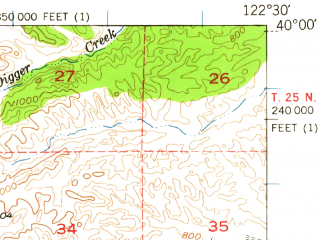 Reduced fragment of topographic map en--usgs--063k--060792--(1952)--N040-00_W122-45--N039-45_W122-30