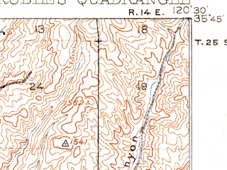 Reduced fragment of topographic map en--usgs--063k--060793--(1919)--N035-45_W120-45--N035-30_W120-30; towns and cities Paso Robles, San Miguel, Creston, Estrella
