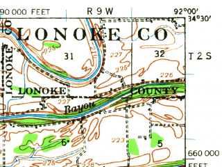 Reduced fragment of topographic map en--usgs--063k--060798--(1932)--N034-30_W092-15--N034-15_W092-00; towns and cities Redfield, White Hall