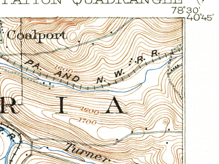 Reduced fragment of topographic map en--usgs--063k--060808--(1902)--N040-45_W078-45--N040-30_W078-30 in area of Glendale Lake; towns and cities Loretto, Patton, Westover