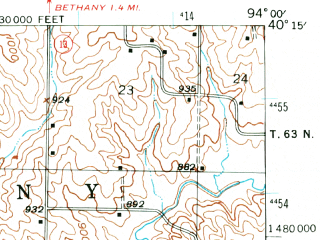 Reduced fragment of topographic map en--usgs--063k--060809--(1944)--N040-15_W094-15--N040-00_W094-00; towns and cities Mcfall, Pattonsburg, Coffey