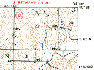 Reduced fragment of topographic map en--usgs--063k--060809--(1948)--N040-15_W094-15--N040-00_W094-00; towns and cities Coffey, Mcfall, Pattonsburg
