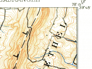 Reduced fragment of topographic map en--usgs--063k--060818--(1910)--N039-45_W078-30--N039-30_W078-15; towns and cities Paw Paw