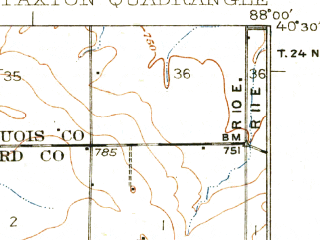 Reduced fragment of topographic map en--usgs--063k--060822--(1927)--N040-30_W088-15--N040-15_W088-00; towns and cities Rantoul, Gifford, Ludlow, Paxton