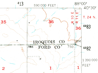 Reduced fragment of topographic map en--usgs--063k--060822--(1957)--N040-30_W088-15--N040-15_W088-00; towns and cities Rantoul, Paxton, Gifford, Ludlow