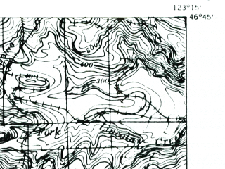 Reduced fragment of topographic map en--usgs--063k--060825--(1941)--N046-45_W123-30--N046-30_W123-15; towns and cities Pe Ell