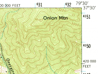 Reduced fragment of topographic map en--usgs--063k--060827--(1950)--N037-30_W079-45--N037-15_W079-30; towns and cities Bedford
