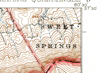 Reduced fragment of topographic map en--usgs--063k--060829--(1937)--N037-30_W080-45--N037-15_W080-30; towns and cities Pearisburg, Pembroke