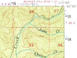 Reduced fragment of topographic map en--usgs--063k--060833--(1954)--N042-30_W124-00--N042-15_W123-45