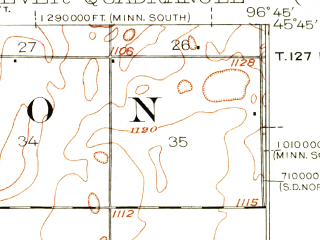 Reduced fragment of topographic map en--usgs--063k--060844--(1916)--N045-45_W097-00--N045-30_W096-45; towns and cities Peever, Browns Valley