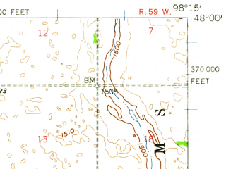 Reduced fragment of topographic map en--usgs--063k--060845--(1951)--N048-00_W098-30--N047-45_W098-15 in area of Stump Lake; towns and cities Pekin, Tolna