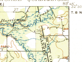Reduced fragment of topographic map en--usgs--063k--060846--(1924)--N032-30_W090-00--N032-15_W089-45; towns and cities Pelahatchie