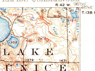 Reduced fragment of topographic map en--usgs--063k--060852--(1917)--N046-45_W096-15--N046-30_W096-00 in area of Prairie Lake, Ida Lake; towns and cities Pelican Rapids