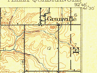 Reduced fragment of topographic map en--usgs--063k--060854--(1912)--N041-30_W093-00--N041-15_W092-45; towns and cities Pella, Harvey, Leighton