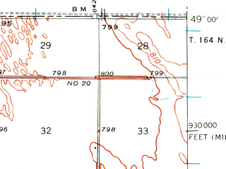 Reduced fragment of topographic map en--usgs--063k--060858--(1939)--N049-00_W097-15--N048-45_W097-00; towns and cities St. Vincent, Humboldt, Pembina