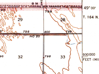 Reduced fragment of topographic map en--usgs--063k--060858--(1941)--N049-00_W097-15--N048-45_W097-00; towns and cities Pembina, St. Vincent, Humboldt