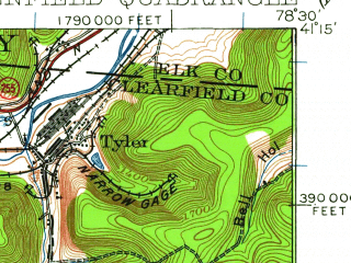 Reduced fragment of topographic map en--usgs--063k--060868--(1929)--N041-15_W078-45--N041-00_W078-30; towns and cities Treasure Lake