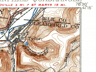 Reduced fragment of topographic map en--usgs--063k--060868--(1932)--N041-15_W078-45--N041-00_W078-30; towns and cities Treasure Lake