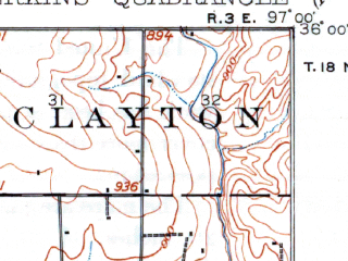 Reduced fragment of topographic map en--usgs--063k--060882--(1909)--N036-00_W097-15--N035-45_W097-00; towns and cities Carney, Coyle, Meridian