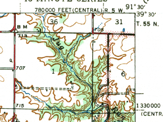 Reduced fragment of topographic map en--usgs--063k--060890--(1945)--N039-30_W091-45--N039-15_W091-30; towns and cities Farber, Perry