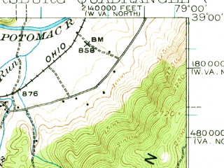 Reduced fragment of topographic map en--usgs--063k--060900--(1920)--N039-00_W079-15--N038-45_W079-00; towns and cities Petersburg