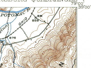 Reduced fragment of topographic map en--usgs--063k--060900--(1922)--N039-00_W079-15--N038-45_W079-00; towns and cities Petersburg