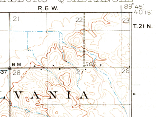 Reduced fragment of topographic map en--usgs--063k--060902--(1933)--N040-15_W090-00--N040-00_W089-45; towns and cities Easton, Oakford, Petersburg