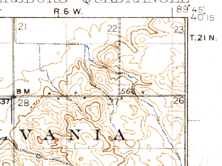 Reduced fragment of topographic map en--usgs--063k--060902--(1938)--N040-15_W090-00--N040-00_W089-45; towns and cities Easton, Oakford, Petersburg