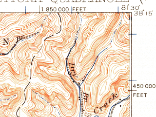 Reduced fragment of topographic map en--usgs--063k--060926--(1929)--N038-15_W081-45--N038-00_W081-30; towns and cities Marmet, Sylvester, Belle