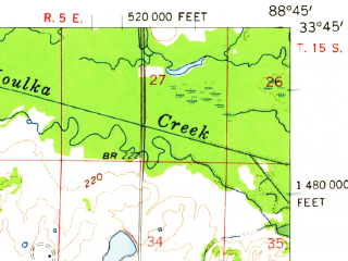 Reduced fragment of topographic map en--usgs--063k--060927--(1959)--N033-45_W089-00--N033-30_W088-45