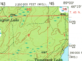 Reduced fragment of topographic map en--usgs--063k--060928--(1956)--N046-15_W089-15--N046-00_W089-00 in area of Lac Vieux Desert