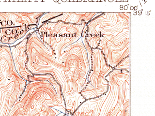 Reduced fragment of topographic map en--usgs--063k--060949--(1904)--N039-15_W080-15--N039-00_W080-00; towns and cities Philippi