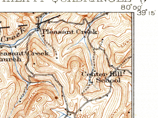Reduced fragment of topographic map en--usgs--063k--060949--(1928)--N039-15_W080-15--N039-00_W080-00; towns and cities Philippi