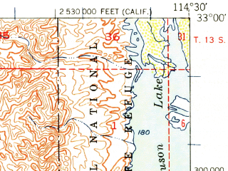 Reduced fragment of topographic map en--usgs--063k--060961--(1951)--N033-00_W114-45--N032-45_W114-30