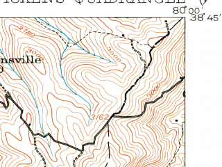 Reduced fragment of topographic map en--usgs--063k--060964--(1913)--N038-45_W080-15--N038-30_W080-00