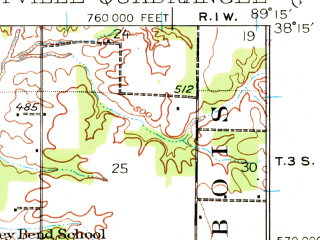 Reduced fragment of topographic map en--usgs--063k--060968--(1924)--N038-15_W089-30--N038-00_W089-15; towns and cities Pinckneyville