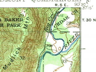 Reduced fragment of topographic map en--usgs--063k--060974--(1935)--N037-15_W090-45--N037-00_W090-30; towns and cities Mill Spring, Piedmont