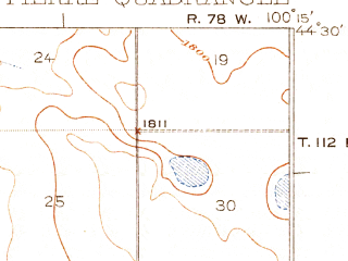 Reduced fragment of topographic map en--usgs--063k--060981--(1924)--N044-30_W100-30--N044-15_W100-15; towns and cities Pierre, Fort Pierre