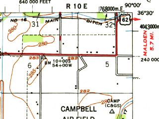 Reduced fragment of topographic map en--usgs--063k--060985--(1956)--N036-30_W090-15--N036-15_W090-00; towns and cities Campbell, Greenway, Holcomb