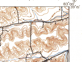 Reduced fragment of topographic map en--usgs--063k--060988--(1917)--N039-15_W083-15--N039-00_W083-00; towns and cities Piketon