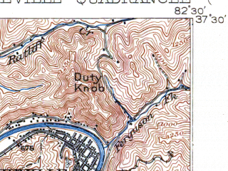 Reduced fragment of topographic map en--usgs--063k--060989--(1916)--N037-30_W082-45--N037-15_W082-30; towns and cities Pikeville, Wheelwright