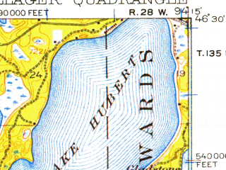 Reduced fragment of topographic map en--usgs--063k--060990--(1916)--N046-30_W094-30--N046-15_W094-15 in area of Round Lake, Lake Hubert; towns and cities Nisswa, Pillager, Baxter