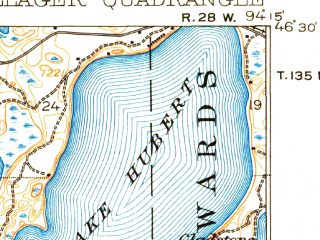 Reduced fragment of topographic map en--usgs--063k--060990--(1919)--N046-30_W094-30--N046-15_W094-15 in area of Round Lake, Lake Hubert; towns and cities Nisswa, Pillager, Baxter