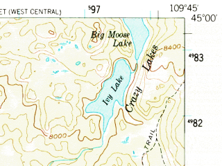Reduced fragment of topographic map en--usgs--063k--060994--(1956)--N045-00_W110-00--N044-45_W109-45