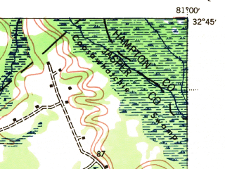 Reduced fragment of topographic map en--usgs--063k--061015--(1943)--N032-45_W081-15--N032-30_W081-00; towns and cities Furman, Scotia