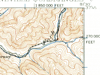 Reduced fragment of topographic map en--usgs--063k--061018--(1910)--N037-45_W081-45--N037-30_W081-30; towns and cities Oceana, Pineville